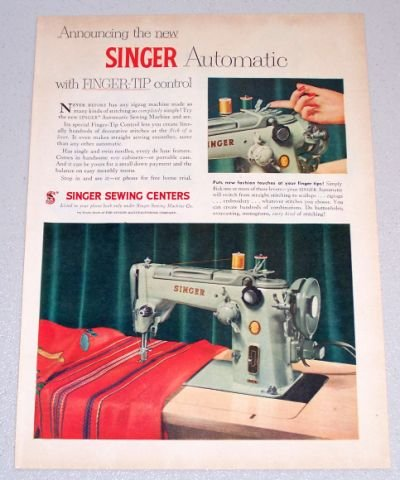 1956 SINGER Automatic Sewing Color Print Ad