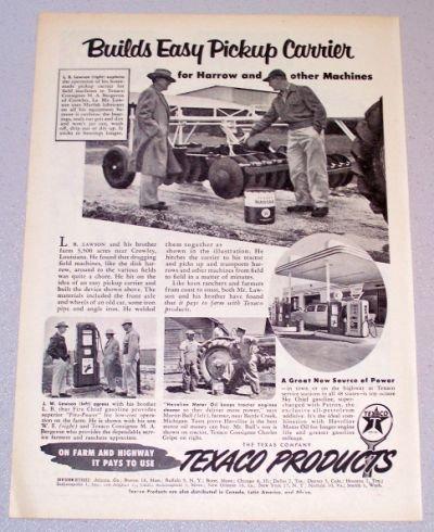 1956 TEXACO Products Harrow Disk Print Ad