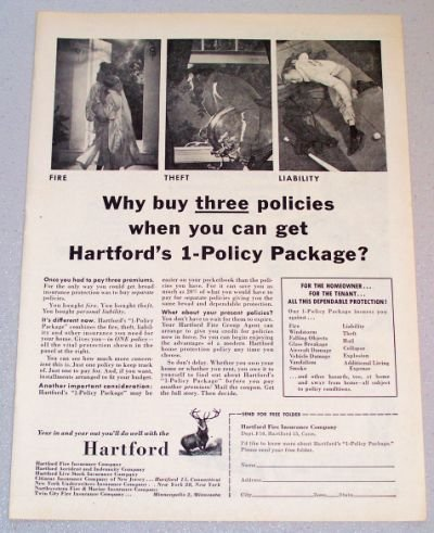 1956 HARTFORD Insurance 1-Policy Package Print Ad