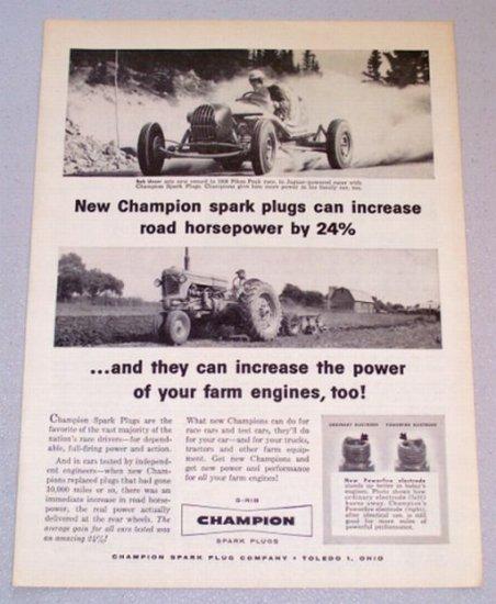 1956 CHAMPION Spark Plugs Pikes Peak Race Print Ad Racing Celebrity Bob Unser