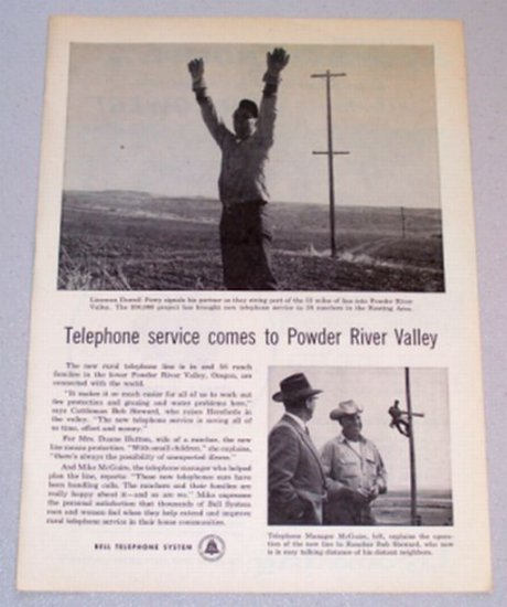 1956 Bell Telephone System Print Ad Lineman Darrell Perry Powder River Valley