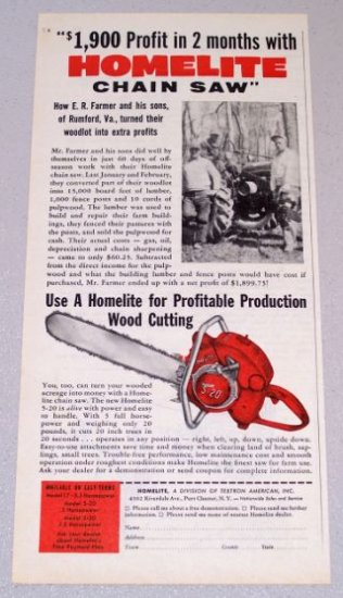 1956 HOMELITE 5-20 Power Chain Saw Print Ad E.R. Farmer Rumford Va