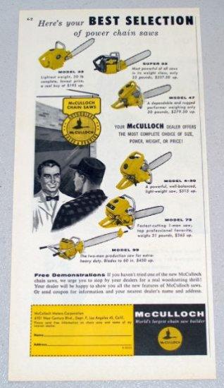 1956 McCULLOCH Power Chain Saws Color Print Ad