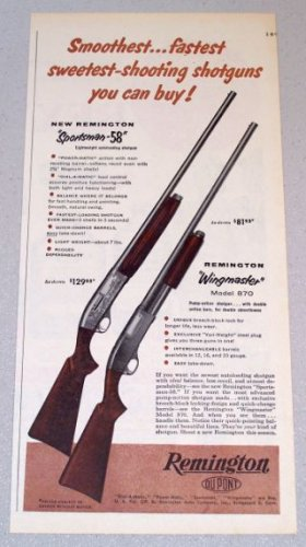 1956 REMINGTON Sportsman 58 Wingmaster Model 870 Shotguns Print Ad