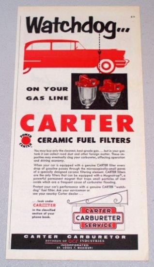 1956 CARTER Carbureter Service Ceramic Fuel Filters Color Print Ad