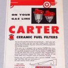 1956 CARTER Carbureter Service Ceramic Fuel Filters Color Print Ad