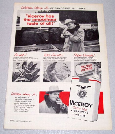 1957 VICEROY Cigarettes Tobacco Print Ad Cambridge Ill William Henry Jr
