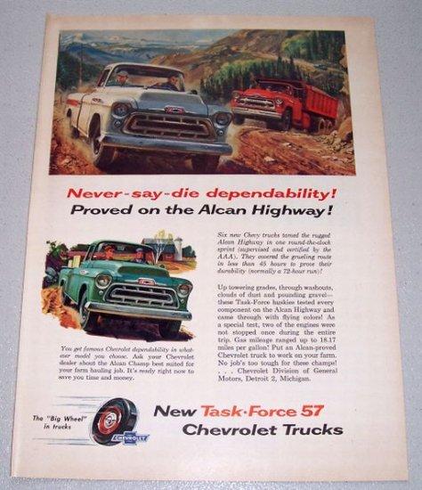 1957 CHEVROLET Chevy Task Force Trucks Alcan Highway Art Print Ad