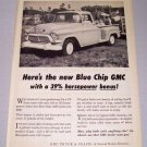 1957 Blue Chip GMC Pickup Truck Print Ad