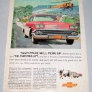 1958 CHEVROLET Bel Air Sport Coupe Automobile Color Art Print Car Ad