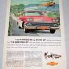1958 CHEVROLET Bel Air Sport Coupe Automobile Color Art Print Car Ad