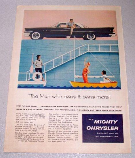 1958 CHRYSLER Saratoga 2DR Hardtop Automobile Color Print Car Ad