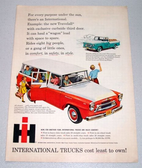1958 International 110 Travelall Wagon Color Art Print Truck Ad