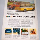 1958 Ford F100 Styleside Pickup F600 Two-Ton Stake Trucks Color Art Print Ad
