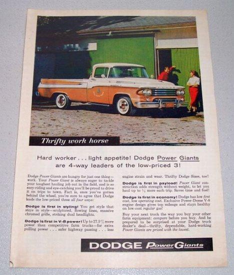 1958 Dodge 100 Pickup Truck Color Art Print Ad