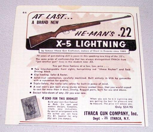 1958 Ithaca He-Man's .22 X-5 Lightning Rifle Print Ad