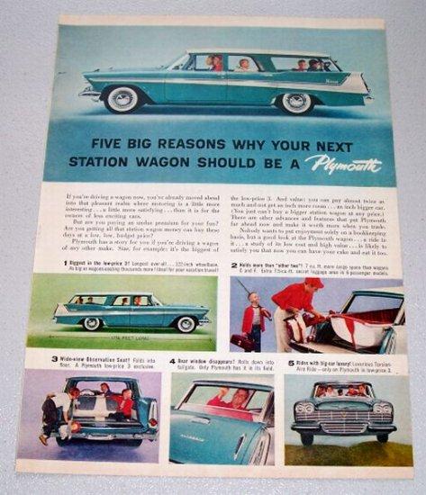 1958 Plymouth 6 Passenger Station Wagon Automobile Color Print Car Ad