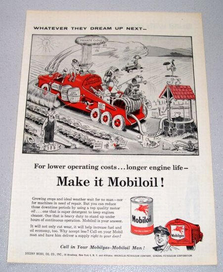 1956 Mobil Oil Ray Crosby Art Print Ad - Dewdrop Irrigator