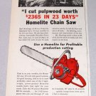 1956 HOMELITE EZ Chain Saw Print Ad Earl Rawlings Prince Frederick Maryland