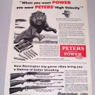 1956 Peters 30-06 Springfield Shells Lion Animal Art Print Ad