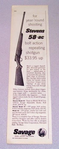 1956 Stevens 58-AC Bolt Action Repeating Shotgun Print Ad