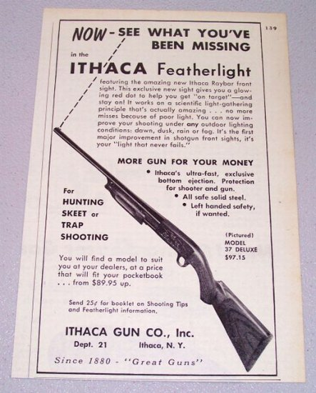 1956 Ithaca Featherlight Model 37 Deluxe Shotgun Print Ad