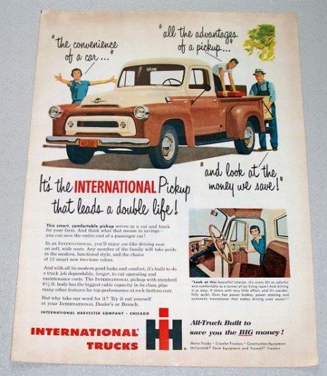 1956 International A100 Pickup Truck Color Art Print Ad