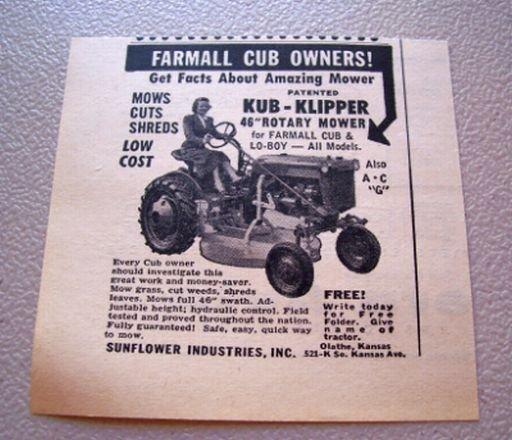 """1956 Farmall Cub Kub Clipper 46"""" Rotary Mower Print Ad"""