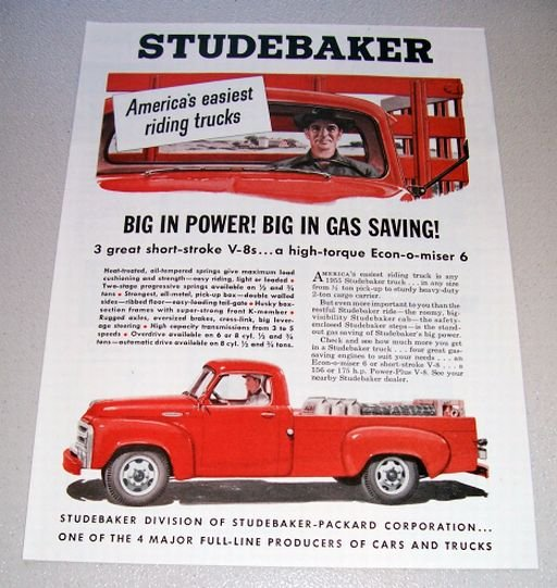 1955 Studebaker Pickup Truck Color Print Ad