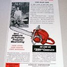 1955 Homelite Model 17 Chain Saw Print Ad Nicholas Perry Holmesville Ohio