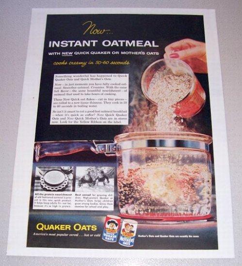 1955 Quaker Oats Instant Oatmeal Color Print Ad