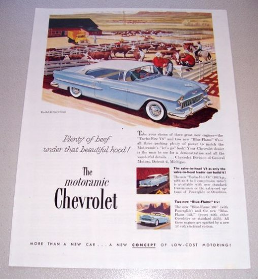 1955 Chevrolet Bel Air Sport Coupe Automobile Print Car Ad Cattle Farming Art