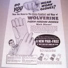 1955 Wolverine Work Gloves Print Ad