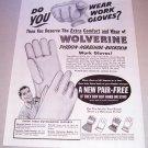 1955 Wolverine Work Gloves Print Ad