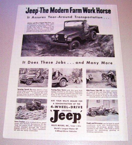 1955 Willys Jeep 4 Wheel Drive Universal Print Ad