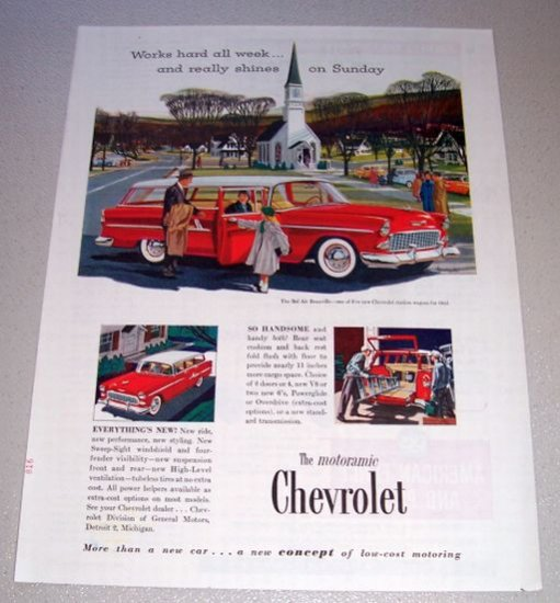 1955 Chevrolet Bel Air Beauville Station Wagon Print Car Ad Church House Art