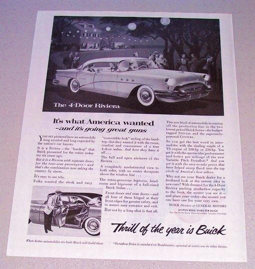 1955 Print Car Ad Buick 4 Door Riviera Automobile