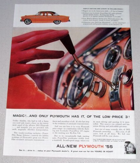 1955 Color Print Car Ad Plymouth Automobile Dashboard Shifting