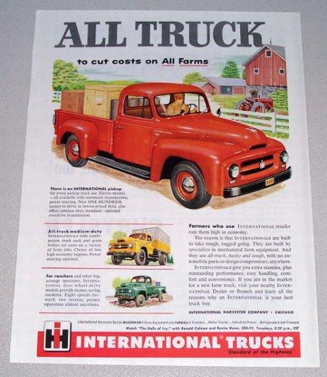 1955 Color Print Ad International 100 Pickup Truck Farming Art