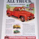 1955 Color Print Ad International 100 Pickup Truck Farming Art