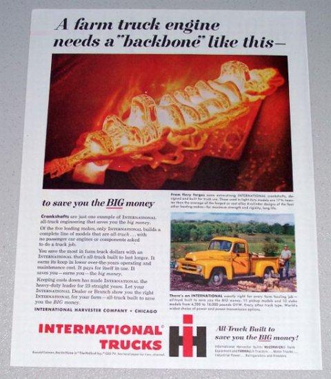 1955 Color Print Ad International Truck Crankshafts