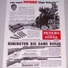 1955 Hunting Print Ad Peters High Velocity 30-06 Springfield Shells Big Moose Animal Art