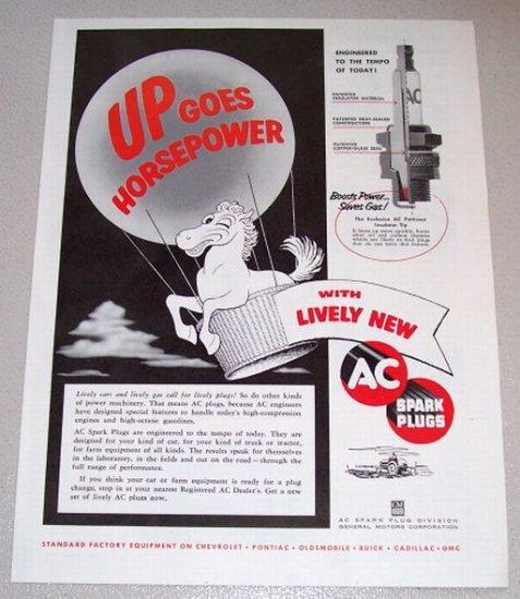 1954 Print Ad AC Spark Plugs Hot Air Baloon Horse Art