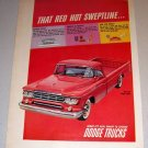 1959 Color Print Ad Dodge Sweptline Red Pickup Truck