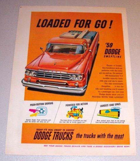 1959 Color Print Ad Dodge Sweptline Orange Pickup Truck