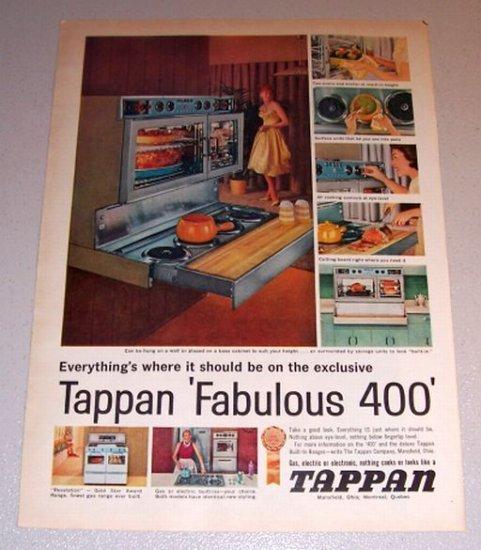 1959 Color Print Ad Tappan Fabulous 400 Built In Range