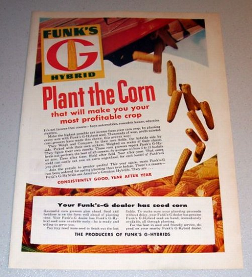 1959 Color Print Ad Funk's G Hybrid Seed Corn