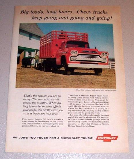 1959 Color Print Ad Chevrolet Model 6503 Stock Grain Body Farm Truck