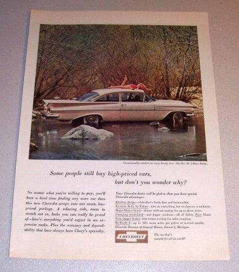 1959 Color Car Print Ad Chevrolet Bel Air 2 Door Sedan Automobile