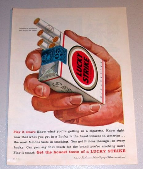 1959 Color Print Tobacco Ad Lucky Strike Cigarettes - Play It Smart